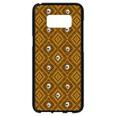 Funny Little Skull Pattern, Golden Samsung Galaxy S8 Black Seamless Case
