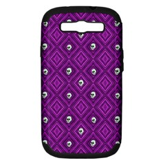 Funny Little Skull Pattern, Purple Samsung Galaxy S Iii Hardshell Case (pc+silicone)