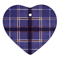 Purple Heather Plaid Heart Ornament (two Sides)