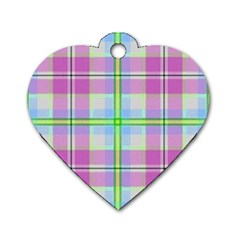 Pink And Blue Plaid Dog Tag Heart (two Sides)