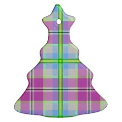 Pink And Blue Plaid Christmas Tree Ornament (two Sides)