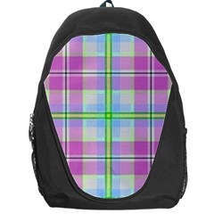 Pink And Blue Plaid Backpack Bag