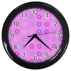 Spray Stars Pattern C Wall Clocks (black)