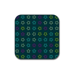 Spray Stars Pattern F Rubber Square Coaster (4 Pack)