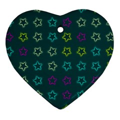 Spray Stars Pattern F Heart Ornament (two Sides)