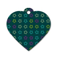 Spray Stars Pattern F Dog Tag Heart (two Sides)