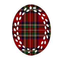 Red Tartan Plaid Oval Filigree Ornament (two Sides)