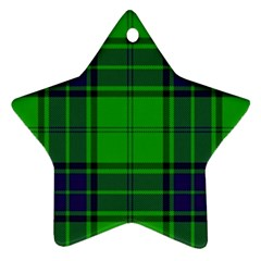 Green And Blue Plaid Ornament (star)
