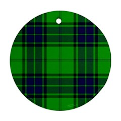 Green And Blue Plaid Round Ornament (two Sides)