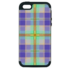Blue And Yellow Plaid Apple Iphone 5 Hardshell Case (pc+silicone)