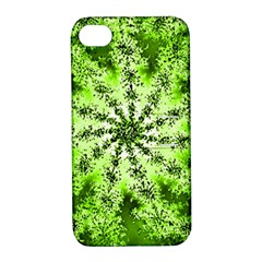Lime Green Starburst Fractal Apple Iphone 4/4s Hardshell Case With Stand