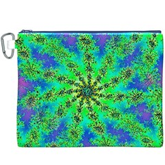 Green Psychedelic Starburst Fractal Canvas Cosmetic Bag (xxxl)