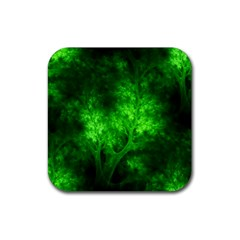 Artsy Bright Green Trees Rubber Square Coaster (4 Pack)
