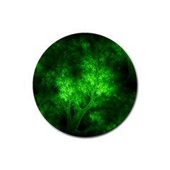 Artsy Bright Green Trees Rubber Round Coaster (4 Pack)