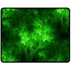 Artsy Bright Green Trees Fleece Blanket (medium)