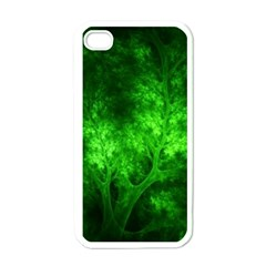 Artsy Bright Green Trees Apple Iphone 4 Case (white)