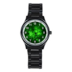 Artsy Bright Green Trees Stainless Steel Round Watch