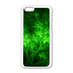 Artsy Bright Green Trees Apple Iphone 6/6s White Enamel Case