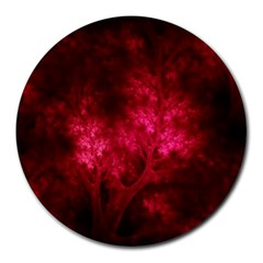 Artsy Red Trees Round Mousepads