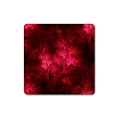 Artsy Red Trees Square Magnet