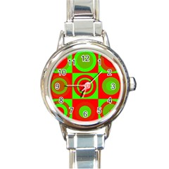 Redg Reen Christmas Background Round Italian Charm Watch