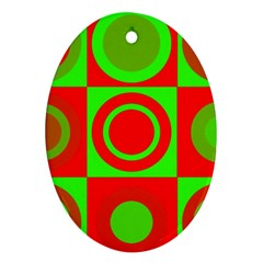 Redg Reen Christmas Background Ornament (oval)