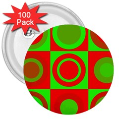 Redg Reen Christmas Background 3  Buttons (100 Pack)