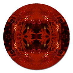 Red Abstract Magnet 5  (round)