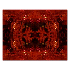 Red Abstract Rectangular Jigsaw Puzzl