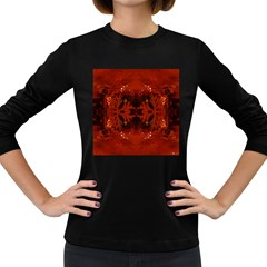 Red Abstract Women s Long Sleeve Dark T Shirts