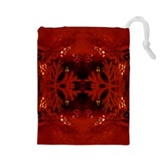 Red Abstract Drawstring Pouches (large)