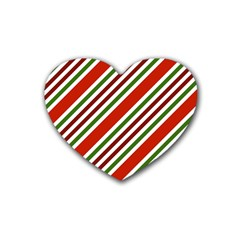 Christmas Color Stripes Heart Coaster (4 Pack)