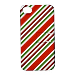 Christmas Color Stripes Apple Iphone 4/4s Hardshell Case With Stand