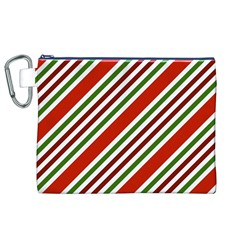 Christmas Color Stripes Canvas Cosmetic Bag (xl)