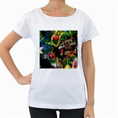 Decoration Christmas Celebration Gold Women s Loose Fit T Shirt (white)
