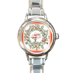 Merry Christmas Wreath Round Italian Charm Watch