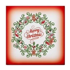 Merry Christmas Wreath Tile Coasters