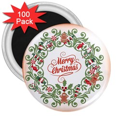 Merry Christmas Wreath 3  Magnets (100 Pack)