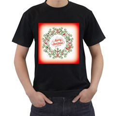 Merry Christmas Wreath Men s T Shirt (black) (two Sided)