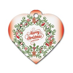 Merry Christmas Wreath Dog Tag Heart (one Side)