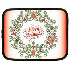 Merry Christmas Wreath Netbook Case (large)