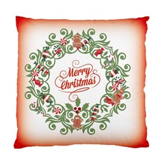 Merry Christmas Wreath Standard Cushion Case (two Sides)
