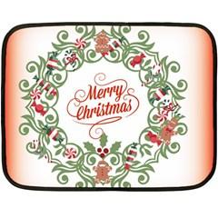 Merry Christmas Wreath Fleece Blanket (mini)