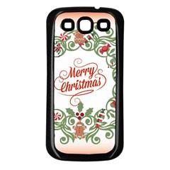 Merry Christmas Wreath Samsung Galaxy S3 Back Case (black)
