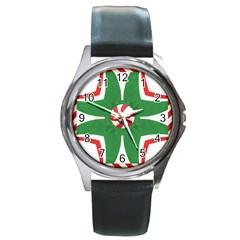 Candy Cane Kaleidoscope Round Metal Watch