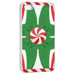 Candy Cane Kaleidoscope Apple Iphone 4/4s Seamless Case (white)