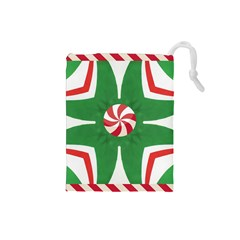 Candy Cane Kaleidoscope Drawstring Pouches (small)