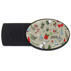 Beautiful Design Christmas Seamless Pattern Usb Flash Drive Oval (2 Gb)