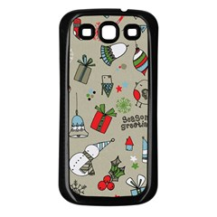 Beautiful Design Christmas Seamless Pattern Samsung Galaxy S3 Back Case (black)