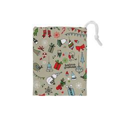 Beautiful Design Christmas Seamless Pattern Drawstring Pouches (small)